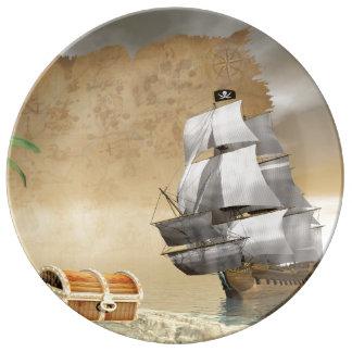 Louça De Jantar Navio de pirata que encontra o tesouro - 3D rendem