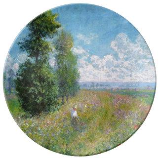 Louça De Jantar O prado de Monet com os álamos na placa
