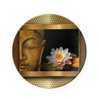 Louça De Jantar Ouro Buddha com flor de Lotus
