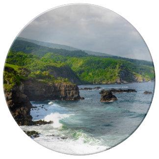 Louça De Jantar Penhascos tropicais em Maui Havaí