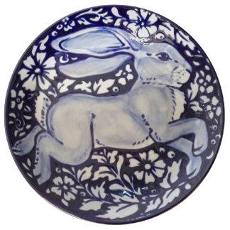 Louça De Jantar Placa bonito floral da porcelana do coelho azul &