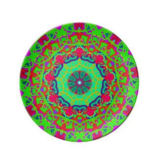 Louça De Jantar Placa colorida da mandala verde do bem-estar
