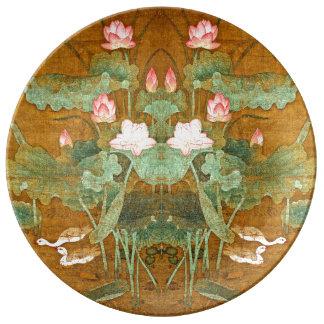 Louça De Jantar Placa da porcelana das aves aquáticas das flores