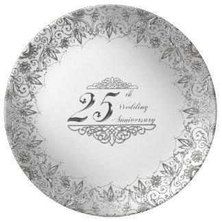 Louça De Jantar Placa da porcelana do aniversário da prata do
