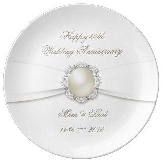 Louça De Jantar Placa da porcelana do aniversário do damasco macio
