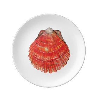 Louça De Jantar Placa de salada da porcelana do Scallop de baía