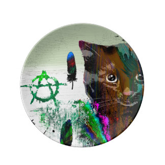 Louça De Jantar Placa decorativa da porcelana do gato №2