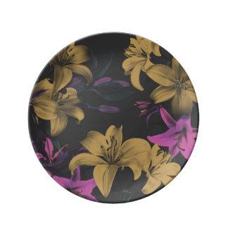 Louça De Jantar Placa decorativa floral escura da porcelana