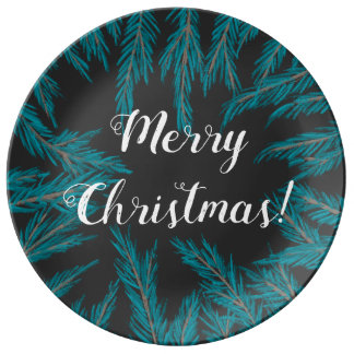 Louça De Jantar Placa decorativa Spruce azul da porcelana