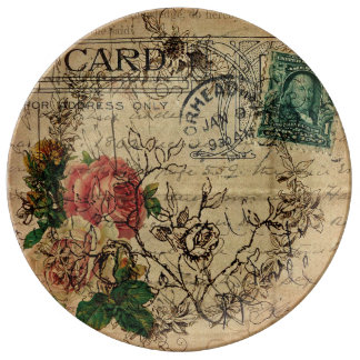 Louça De Jantar Placa do desenhista do porte postal da flor de