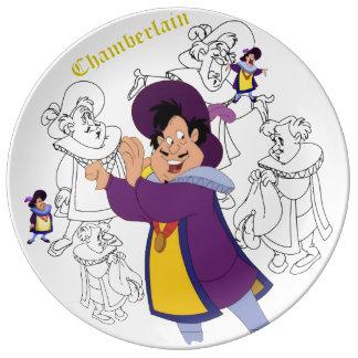 Louça De Jantar Placa do esboço da porcelana de Chamberlain