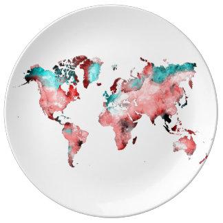 Louça De Jantar placa do mapa do mundo