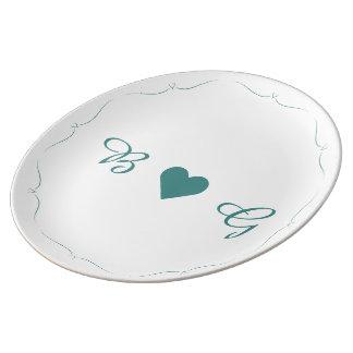 Louça De Jantar Placa elegante do monograma do coração do