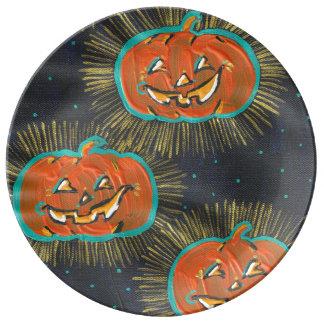 Louça De Jantar Placa estrelado da porcelana do Dia das Bruxas dos