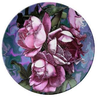 Louça De Jantar Placa floral da porcelana do desenhista por oásis