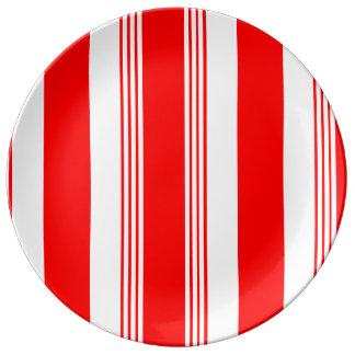 Louça De Jantar Placa listrada da porcelana dos doces - branco