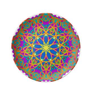 Louça De Jantar Placa quieta da porcelana da mandala da