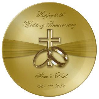 Louça De Jantar Placa religiosa da porcelana do aniversário do