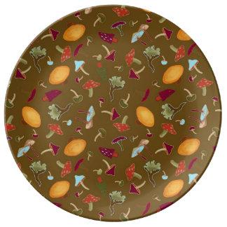 Louça De Jantar Placa selvagem da porcelana dos cogumelos
