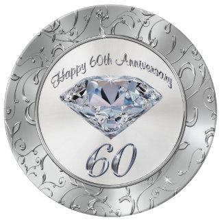 Louça De Jantar Placas do aniversário do diamante lindo 60th
