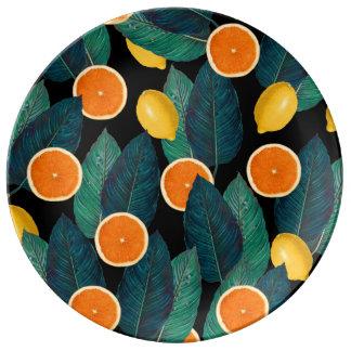 Louça De Jantar preto dos limões e das laranjas