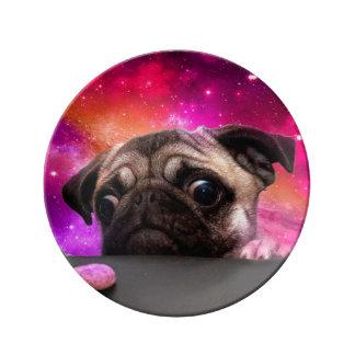 Louça De Jantar pug do espaço - comida do pug - biscoito do pug