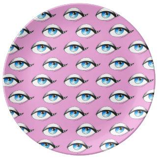 Louça De Jantar Rosa do teste padrão de olhos azuis