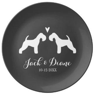 Louça De Jantar Silhuetas de Lakeland Terrier com coração e texto