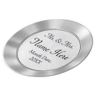 Louça De Jantar Sr. e Sra. placa do casamento da porcelana dos