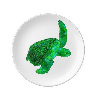 Louça De Jantar Tartaruga de mar verde tribal