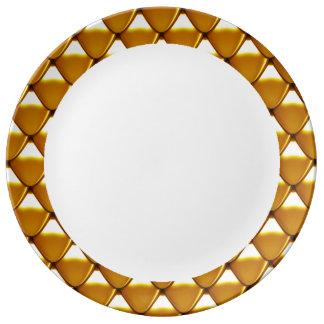 Louça De Jantar Teste padrão elegante da escala do ouro