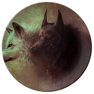 Louça dois lobos - lobo da pintura
