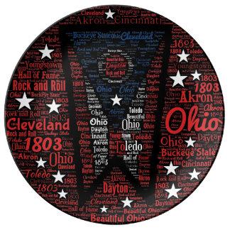 """Louça Estado de Ohio 10,75"""" placa da porcelana da arte"""