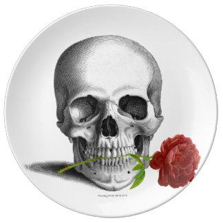 Louça Fantasia cor-de-rosa do horror do crânio gótico