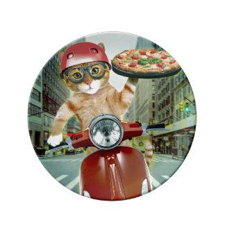 Louça gato da pizza - gato - entrega da pizza