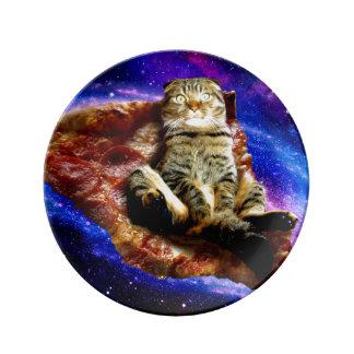 Louça gato da pizza - gato louco - gatos no espaço