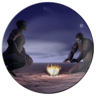 Louça Homo erectus e fogo - 3D rendem