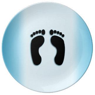 Louça Impressões azuis do pé