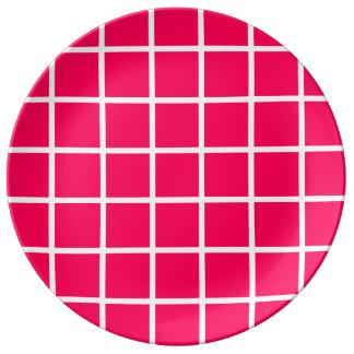 Louça Listras brancas corajosas da estrutura no rosa do