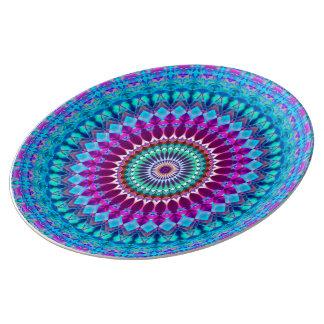 Louça Mandala geométrica G382 da placa da porcelana