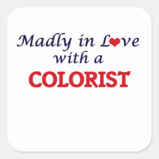 Louca no amor com um Colorist Adesivo Quadrado