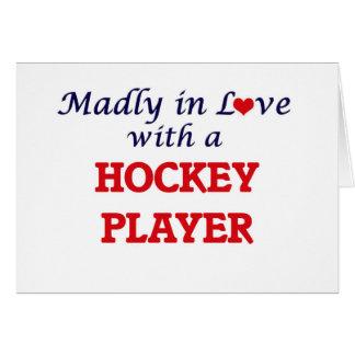 Louca no amor com um jogador de hóquei cartão comemorativo