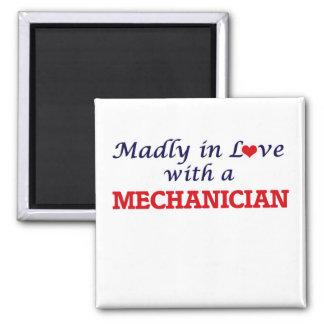 Louca no amor com um Mechanician Ímã Quadrado
