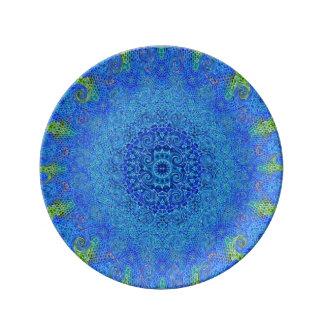 Louça O azul e o abstrato do verde projetam a placa