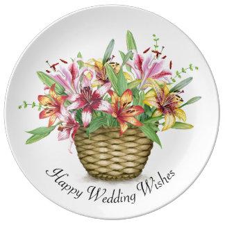 Louça Os desejos felizes do casamento decoraram a placa