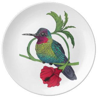 Louça Placa da porcelana da ilustração do pássaro de