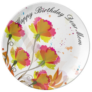 Louça Placa da porcelana da mamã do feliz aniversario