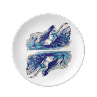 Louça Placa da porcelana da sereia espelhada