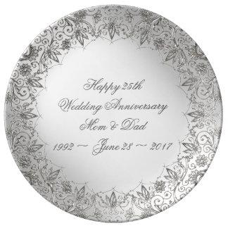 Louça Placa da porcelana do aniversário da prata do