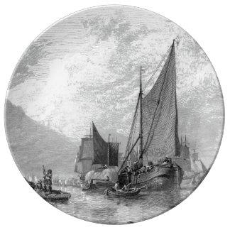 Louça Placa da porcelana do GB dos veleiros de Thames